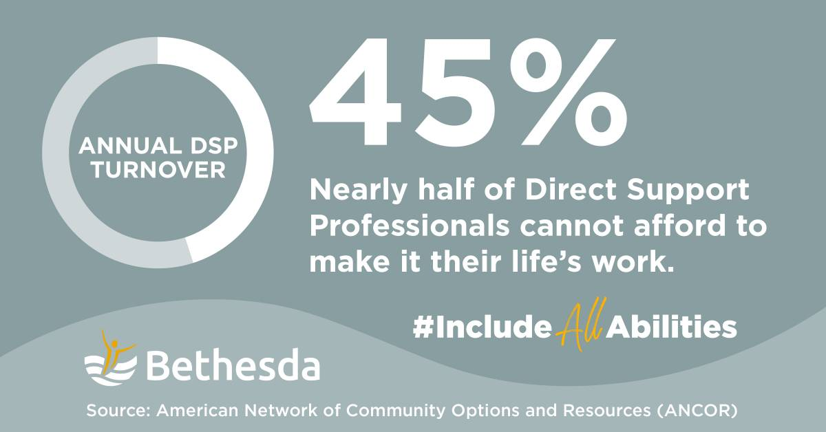 Infographic 45% Nearly half of Direct Support Professionals cannot afford to make it their life's work