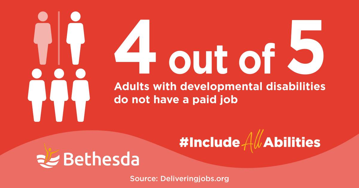 Infographic 4 out of 5 adults with developmental disabilities do not have a paid job
